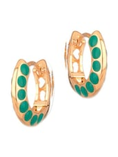 Pretty Pair Of Gold Tone Hoop Earrings With Green Enamel Work - Voylla