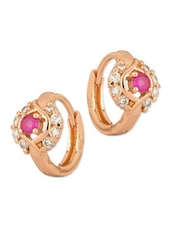 CZ And Pink Color Stone Adorned Pair Of Hoop Earring - Voylla