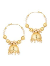 White Pearls Studded Pair Of Gold Plated Hoop Earrings - Voylla
