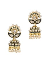 Glitzy Pair Of Jhumki Earrings Embedded With Shiny CZ And Pearls - Voylla