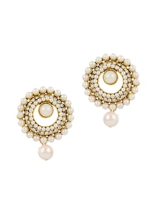 Pair Of Gold Plated Stud Earrings Decorated With Shiny CZ And Pearls - Voylla