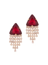 Pair Of Gold Tone Earrings Decorated With Shiny CZ And Red Color Stone - Voylla