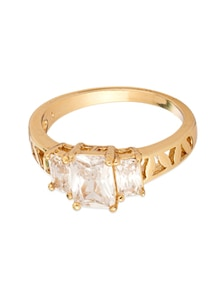 Cluster Ring On Yellow Gold Plating Studded With CZ Stones - Voylla