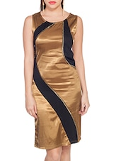 Gold, Black Satin  Bodycon Dress - By