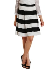 Black, White Polyester Striped Flared Skirt - By