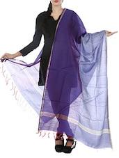 Purple & Blue Art Silk  Zari Bordered Dupatta - By