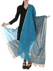 Blue & Grey Art Silk  Zari Bordered Dupatta - By