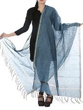 Blue Art Silk  Zari Bordered Dupatta - By