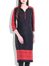 Black & Red Rayon Lace Kurta - By