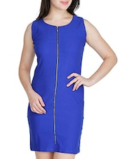 Cobalt Poly Lycra S  Dresses - By