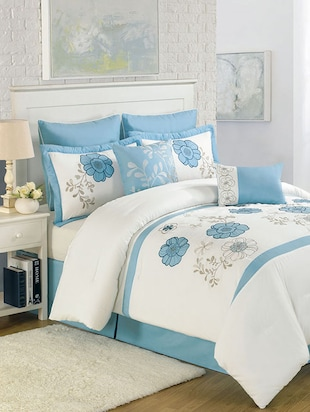 Blue-white colored, satin designer duvet cover -  online shopping for Quilt Covers