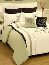 White-green colored, satin designer duvet cover -  online shopping for Quilt Covers