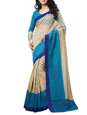 Beige, Blue Cotton Silk Saree - By