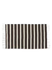 Stripes Chocolate Colour Woven Stripe Cotton Rug - Azaani