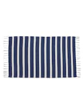 Stripes Teal Colour Woven Stripe Cotton Rug - Azaani