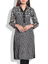 Black & Beige Printed Cotton Kurta - By