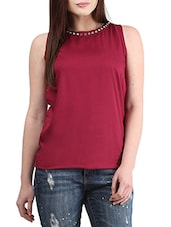 maroon Rayon top -  online shopping for Tops