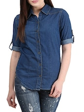navy blue Denim shirt -  online shopping for Shirts