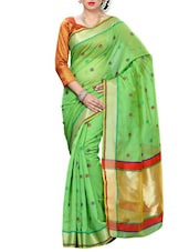 Green Mimosa Women Kanchipuram Cotton Art Saree With Tissue Blouse (Green ,3148-RZ-7-GREEN) Saree - By