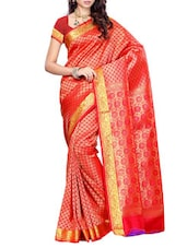 Pink Mimosa Women Kanchipuram Art Silk Saree With Handwork Blouse (Pink ,3155-N2-T-RANI) Saree - By