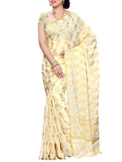 Off-white Mimosa Women Kanchipuram Chiffon Art Silk Saree With Plain Blouse (Off-White ,3171-C6-OFFWT) Saree - By