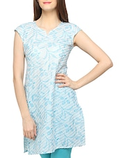 Light Blue Striped Short Sleeves Cotton Kurti - Globus