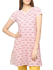 Maroon Printed Short Sleeves Cotton Kurti - Globus