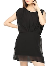 Black Polyester Short Dress - Globus