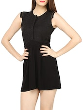 Elegant Black Viscose & Lace Short Dress - Globus