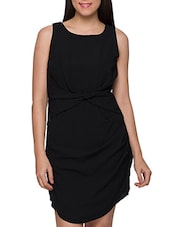 Stylish Black Polyester Short Dress - Globus