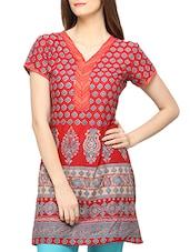 Red Printed Cotton Kurti - Globus