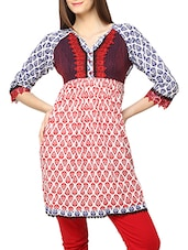 Multicolored Printed Cotton With Lace Kurti - Globus