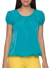 Blue Polyester Puff Short  Sleeves Top - Globus