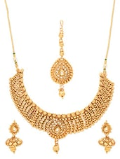 Gold Plated Polki Necklace Set With Tikka - By