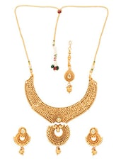 Gold Plated Polki Necklace Set With Maang Tikka - By
