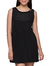 Black Polyester Embellished Bow Dress - Globus