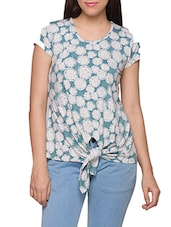 Blue & White Viscose Lycra Knot Top - Globus