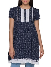 Navy Blue Printed Puff Sleeves Cotton Kurti - Globus