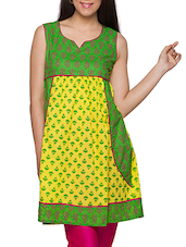 Green & Yellow  Printed Sleeveless Cotton Kurti - Globus