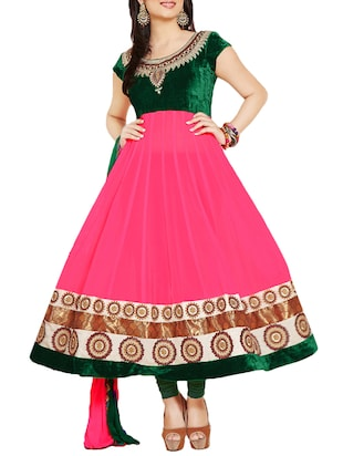 pink & green Faux Georgette Anarkali Suit -  online shopping for Suits