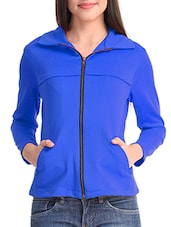 Blue Poly Lycra Plain Jacket - By
