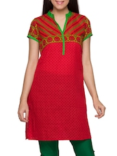 Red Printed Mandarin Collar Short Sleeves Kurti - Globus