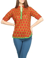 Multi Floral Mandarin Collar Cotton Top - Globus