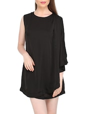 Stylish Black Plain Polyester Dress - Globus