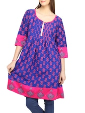 Blue & Pink Printed Pin Tucked Cotton Kurti - Globus
