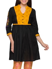 Black & Mustard Embroidered Cotton Kurti - Globus