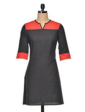 Black-Red Cotton Color Block Kurti - Vgf
