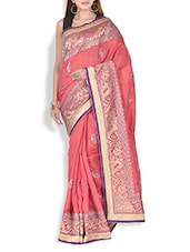 Peach Paisley Embroidered Dupion Silk Saree - By