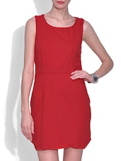 Red Cotton And Spandex Plain Sleeveless Backless Dress - By