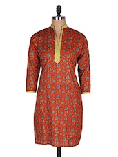 Regular Casual Orange And Green 3/4th Sleeve Women's Kurti - Sale Mantra